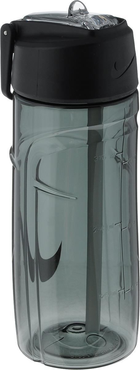 Бутылка для воды Nike  T1 Flow Swoosh Water Bottle 16oz , цвет: темно-серый, белый, 473 мл - Шейкеры