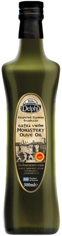Delphi масло оливковое Extra Virgin монастырское, 500 мл0120710Масло оливковое Монастырское по благословению Монастыря ПресвятойБогородицы Элефтеротрия, с браслетом оберегом Комбоскини.