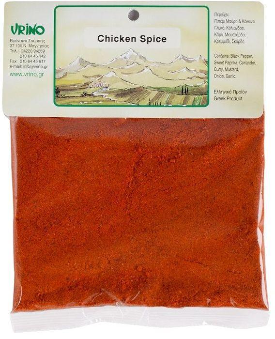 Vrino приприва для курицы, 50 г0120710Продукт из Греции. Греческая кухня - это в первую очередь разнообразные приправы! Особые смеси трав и пряностей придают курице неповторимый вкус.