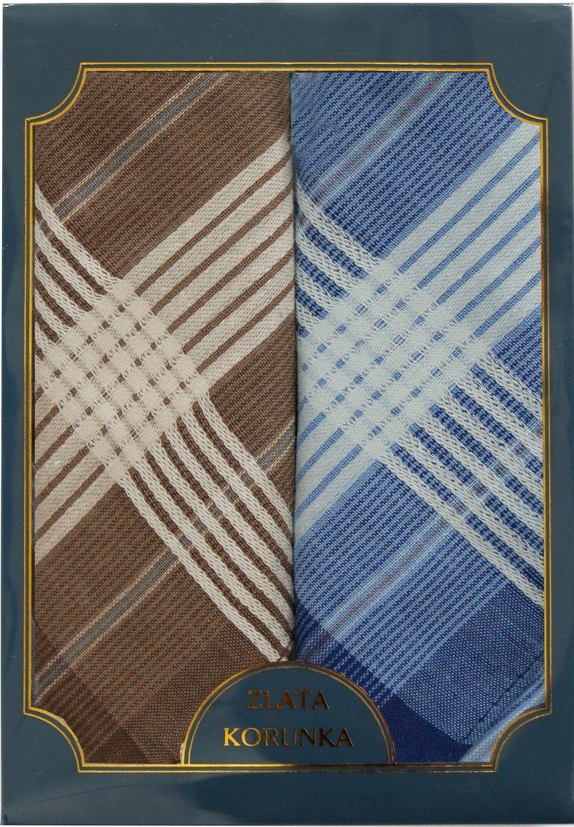 Платок носовой мужской Zlata Korunka, цвет: коричневый, голубой, 2 шт. 40214-10. Размер 43 см х 43 см39864|Серьги с подвескамиМужской носовой платой Zlata Korunka изготовлен из натурального хлопка, приятен в использовании, хорошо стирается, материал не садится и отлично впитывает влагу. Оформлена модель контрастным принтом.