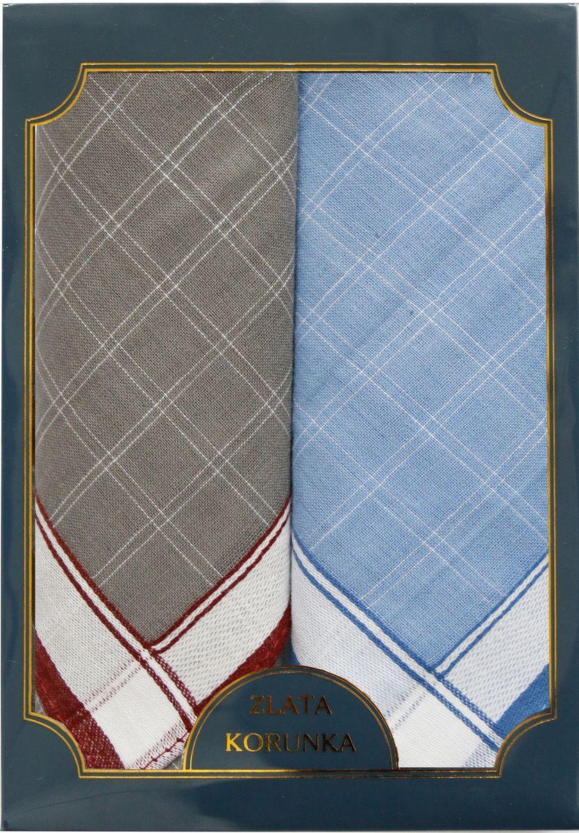Платок носовой мужской Zlata Korunka, цвет: серый, голубой, 2 шт. 40214-12. Размер 43 см х 43 см39864 Серьги с подвескамиМужской носовой платой Zlata Korunka изготовлен из натурального хлопка, приятен в использовании, хорошо стирается, материал не садится и отлично впитывает влагу. Оформлена модель контрастным принтом.
