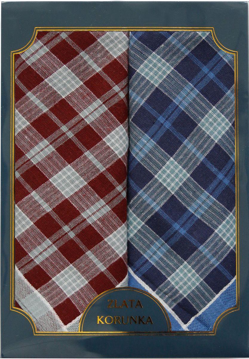 Платок носовой мужской Zlata Korunka, цвет: бордовый, синий, 2 шт. 40214-8. Размер 43 см х 43 см39864 Серьги с подвескамиМужской носовой платой Zlata Korunka изготовлен из натурального хлопка, приятен в использовании, хорошо стирается, материал не садится и отлично впитывает влагу. Оформлена модель контрастным принтом.