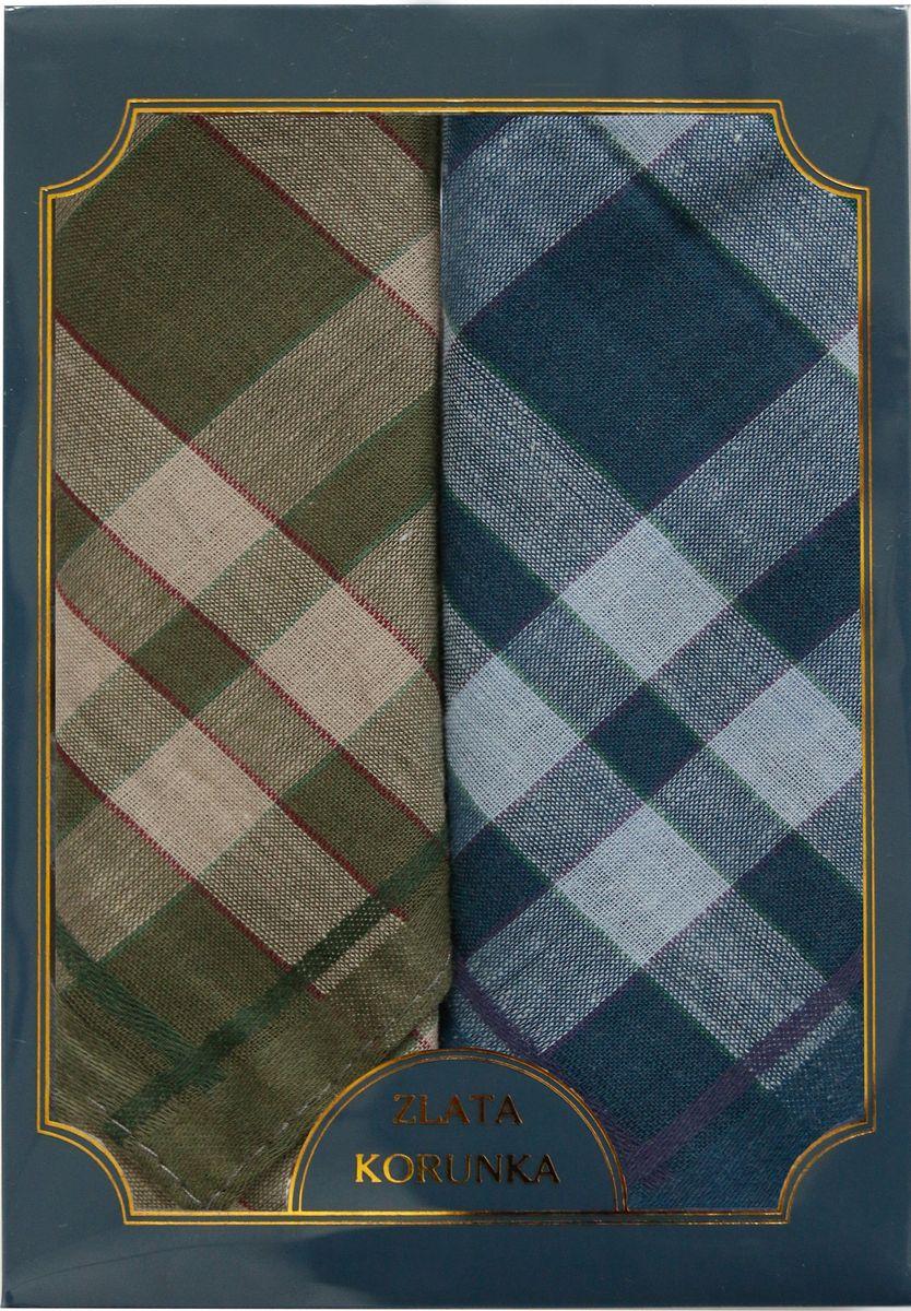 Платок носовой мужской Zlata Korunka, цвет: коричневый, синий, 2 шт. 40214-9. Размер 43 см х 43 см39864|Серьги с подвескамиМужской носовой платой Zlata Korunka изготовлен из натурального хлопка, приятен в использовании, хорошо стирается, материал не садится и отлично впитывает влагу. Оформлена модель контрастным принтом.