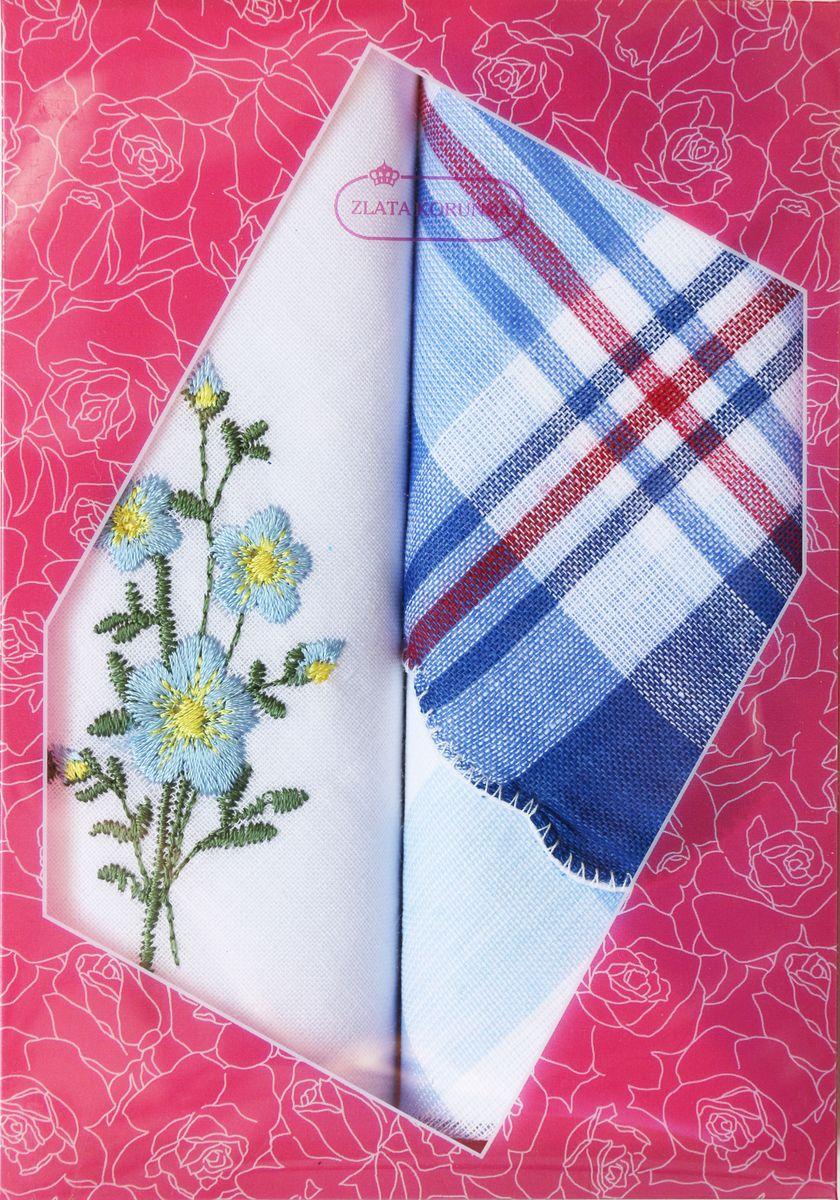 Платок носовой женский Zlata Korunka, цвет: мультиколор, 2 шт. 40222-14. Размер 29 см х 29 см39890|Колье (короткие одноярусные бусы)Оригинальный женский носовой платок Zlata Korunka изготовлен из высококачественного натурального хлопка, благодаря чему приятен в использовании, хорошо стирается, не садится и отлично впитывает влагу. Практичный и изящный носовой платок будет незаменим в повседневной жизни любого современного человека. Такой платок послужит стильным аксессуаром и подчеркнет ваше превосходное чувство вкуса.