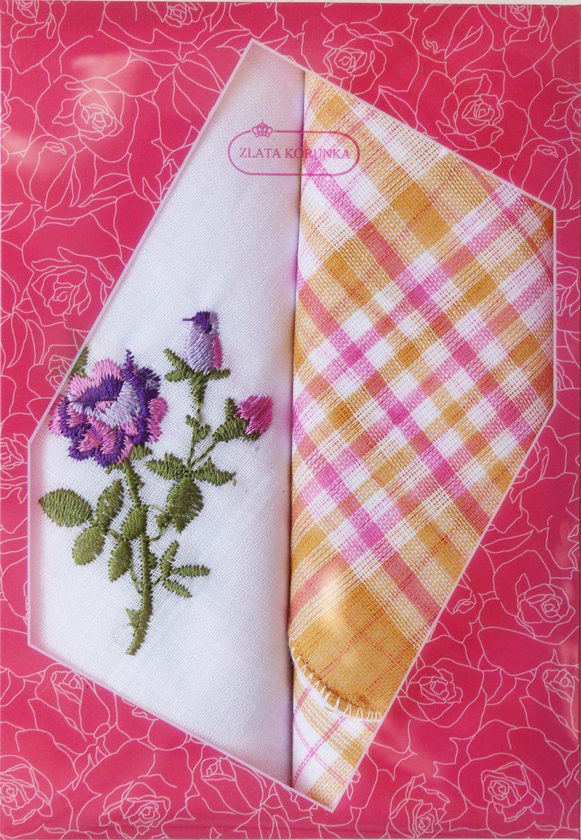 Платок носовой женский Zlata Korunka, цвет: мультиколор, 2 шт. 40222-20. Размер 29 см х 29 см39890 Колье (короткие одноярусные бусы)Оригинальный женский носовой платок Zlata Korunka изготовлен из высококачественного натурального хлопка, благодаря чему приятен в использовании, хорошо стирается, не садится и отлично впитывает влагу. Практичный и изящный носовой платок будет незаменим в повседневной жизни любого современного человека. Такой платок послужит стильным аксессуаром и подчеркнет ваше превосходное чувство вкуса.