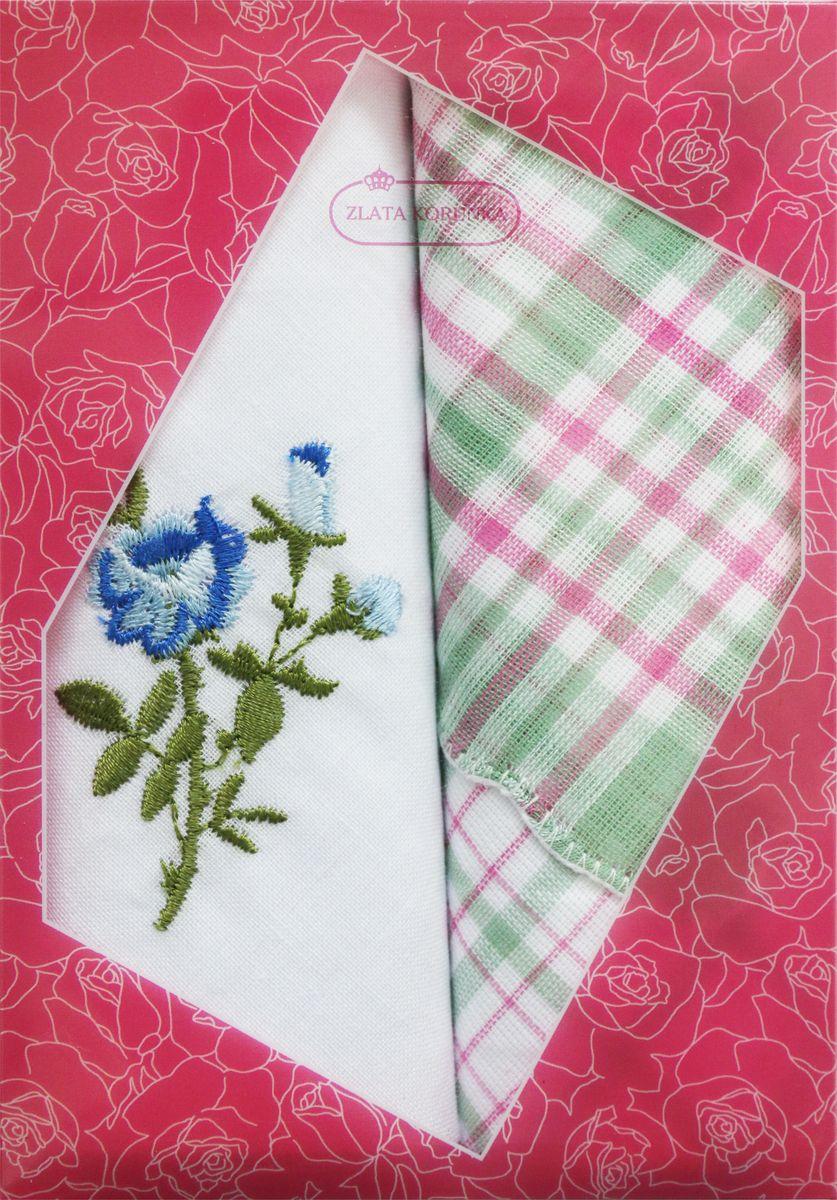 Платок носовой женский Zlata Korunka, цвет: белый, зеленый, розовый, 2 шт. 40222-21. Размер 29 см х 29 см39864|Серьги с подвескамиОригинальный женский носовой платок Zlata Korunka изготовлен из высококачественного натурального хлопка, благодаря чему приятен в использовании, хорошо стирается, не садится и отлично впитывает влагу. Практичный и изящный носовой платок будет незаменим в повседневной жизни любого современного человека. Такой платок послужит стильным аксессуаром и подчеркнет ваше превосходное чувство вкуса.