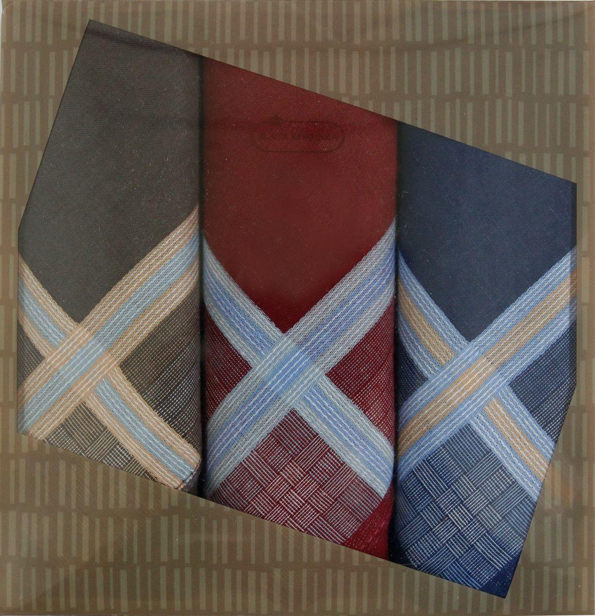 Платок носовой мужской Zlata Korunka, цвет: бордовый, синий, коричневый, 3 шт. 40315-1. Размер 43 см х 43 см39864|Серьги с подвескамиМужской носовой платой Zlata Korunka изготовлен из натурального хлопка, приятен в использовании, хорошо стирается, материал не садится и отлично впитывает влагу. Оформлена модель контрастным принтом.