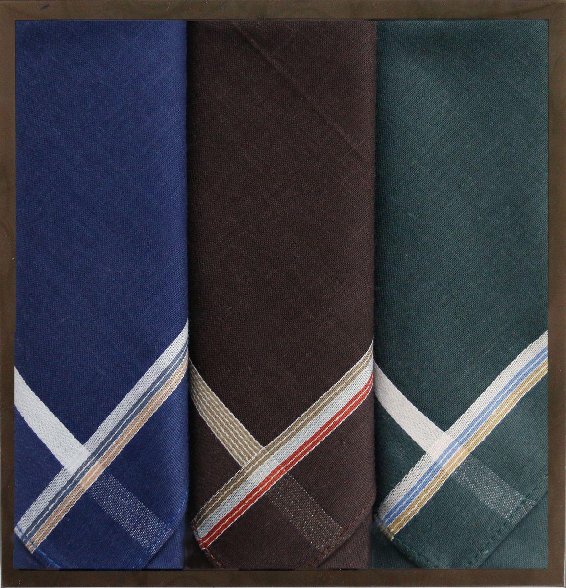 Платок носовой мужской Zlata Korunka, цвет: синий, коричневый, серый, 3 шт. 40315-4. Размер 43 см х 43 см39890|Колье (короткие одноярусные бусы)Мужской носовой платой Zlata Korunka изготовлен из натурального хлопка, приятен в использовании, хорошо стирается, материал не садится и отлично впитывает влагу. Оформлена модель контрастным принтом.
