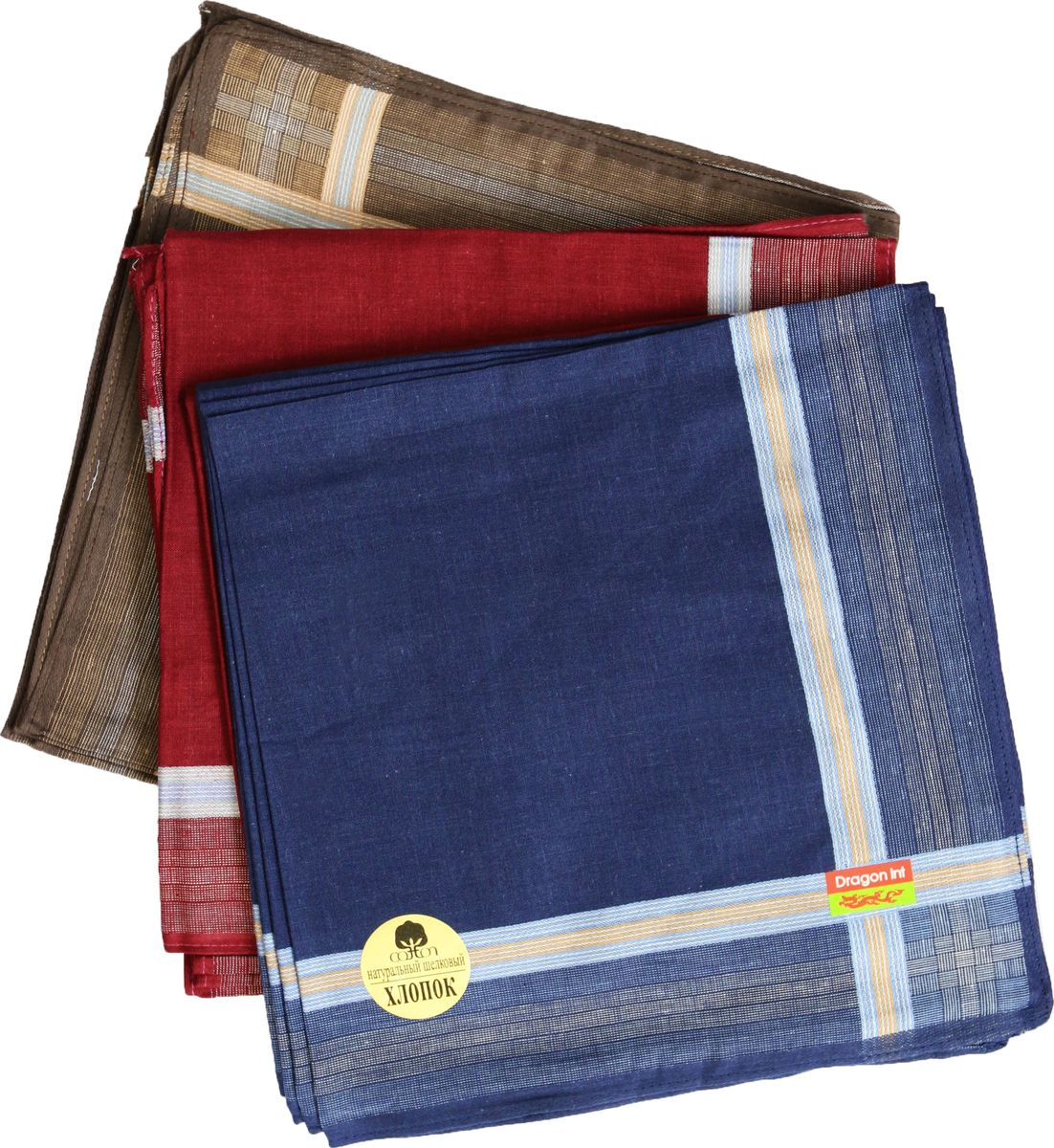 Платок носовой мужской Zlata Korunka, цвет: синий, красный, коричневый, 3 шт. 45480-3. Размер 27 см х 27 см39864|Серьги с подвескамиМужской носовой платой Zlata Korunka изготовлен из натурального хлопка, приятен в использовании, хорошо стирается, материал не садится и отлично впитывает влагу. Оформлена модель контрастным принтом.