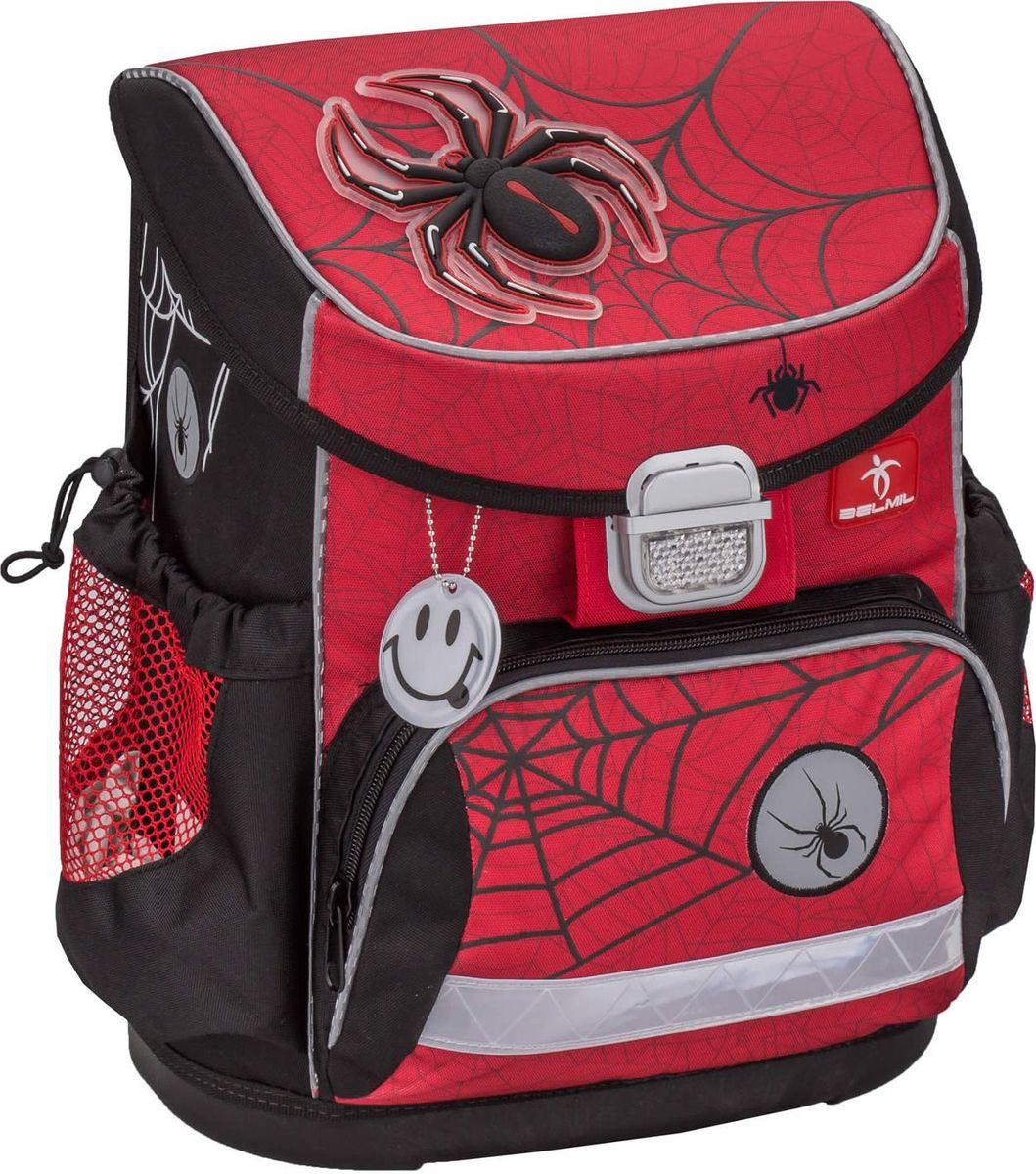 Belmil Ранец школьный Mini-Fit Spider72523WDШкольный ранец Belmil Mini-Fit Spider выполнен с анатомической спинкой. Анатомическая спинка повторяет строение позвоночника ребенка и существенно снижает нагрузку. Вес равномерно распределен по всей спине. Мягкая прокладка из воздухопроницаемой ткани с сетчатой структурой и специальным рельефом надежно предотвращает запотевание спины ребенка. Широкие и мягкие регулируемые лямки из материала с «эффектом памяти» запоминают параметры после того, как ребенок подстроит ранец под себя и при надевании ранца снова четко повторяют прежние контуры.Регулируемый по росту нагрудный фиксатор. Устойчивое пластиковое дно надежно защищает содержимое ранца от намокания. Металлический замок выполнен со светоотражателем. Светоотражающие элементы по периметру ранца повышают безопасность ребенка на дороге в темное время суток. Школьный ранец Belmil выполнен в современном эргономичном дизайне.