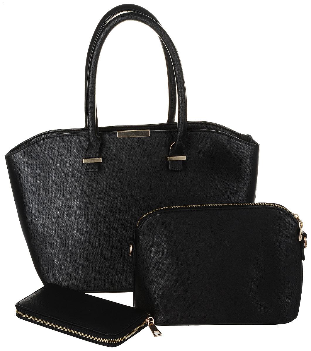 Комплект женский DDA, 3 предмета, цвет: черный. WB-1005ML597BUL/DКомплект DDA состоит из большой сумки, маленькой сумочки-клатча и кошелька. Изделия изготовлены из качественной экокожи. Большая сумка закрывается на застежку-молнию. Сумка содержит одно отделение, в котором расположены два открытых накладных кармана и один врезной на молнии. С внешней задней стороны сумки - врезной карман на застежке-молнии. Модель дополнена двумя прочными ручками на металлической фурнитуре. Маленькая сумка-клатч закрывается на застежку-молнию. Сумка содержит одно отделение, в котором расположены два открытых накладных кармана и один врезной карман на молнии. В комплекте два съемных ремня с застежками-карабинами. Короткий ремень выполнен из экокожи и прочных металлических цепей. Длинный ремень из экокожи регулируется по длине. Удобный женский кошелек застегивается на металлическую молнию. Кошелек разделен карманом-средником на молнии и содержит восемь отделений для карточек или визиток.