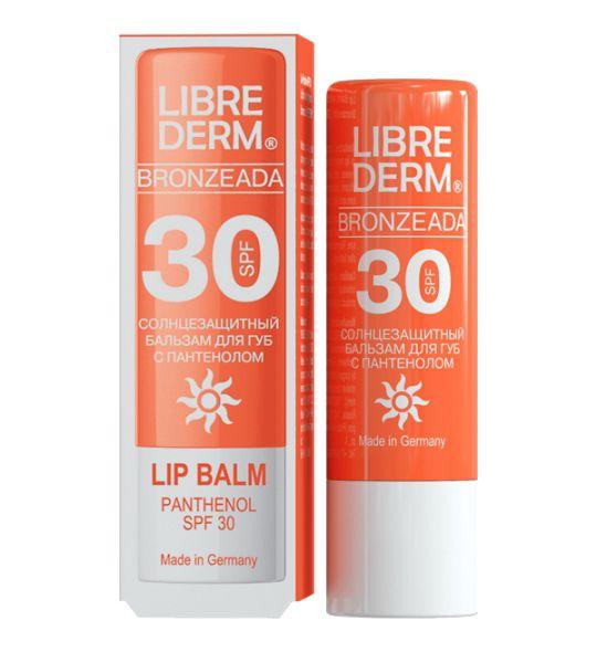 Librederm Bronzeada бальзам для губ с пантенолом солнцезащитный SPF 30, 4 гA17049/07Увлажняет, смягчает, ускоряет процессы регенерации кожи губ, устраняя сухость и шелушение обеспечивает эффективную защиту от обветривания и солнечных лучей, содержит солнцезащитный фильтр SPF 30