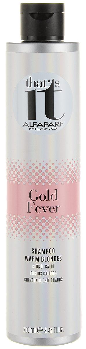 Alfaparf Thats it Gold Fever Shampoo Шампунь тонирующий в теплые оттенки цвета блонд, 250 мл360107Тонирующий шампунь дарит новую жизнь и сияние как натуральным, так и окрашенным светлым волосам теплых оттенков.Объем: 250 мл