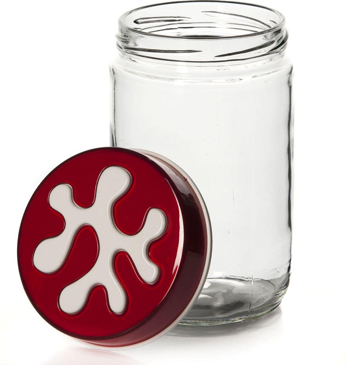 Банка для сыпучих продуктов Herevin, 660 мл. 135367-205FA-5125-1 BlueЕмкость прозрачная с цветной крышкой 9*9*14,5 см