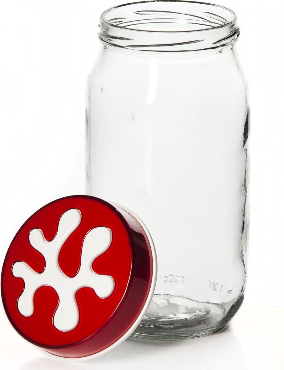 Банка для сыпучих продуктов Herevin, 1 л. 135377-000135377-000Емкость стеклян. с пласт.фиолетовой крышкой V=1,0 л