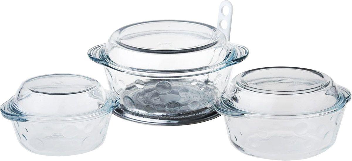 Набор посуды для СВЧ Pasabahce, 6 предметов. 15909068/5/3Набор посуды для СВЧ Pasabahce выполнен из жаропрочного стекла и состоит из трех круглых кастрюль с крышками разного размера. Изделия прекрасно подойдут длявыпекания десертов - кексов, пирогов, тортов.Стекло - самый безопасный для здоровья материал. Посуда из стекла не вступает в реакцию с готовящейся пищей,а потому не выделяет никаких вредных веществ, не подвергается воздействию кислот и солей. Из-за невысокойтеплопроводности пища в ней гораздо медленнее остывает. Стеклянная посуда очень удобна для приготовления и подачи самых разнообразных блюд: супов, вторых блюд,десертов. Благодаря прозрачности стекла, за едой можно наблюдать при ее готовке, еду можно видеть приподаче, хранении. Используя такую посуду, вы можете как приготовить пищу, так и изящно подать ее к столу, неменяя посуды. Благодаря гладкой идеально ровной поверхности посуда легко моется. Можно использовать в духовках, микроволновых печах и морозильных камерах (выдерживает температуру от - 30°C до 300°C). Можно мыть в посудомоечной машине.