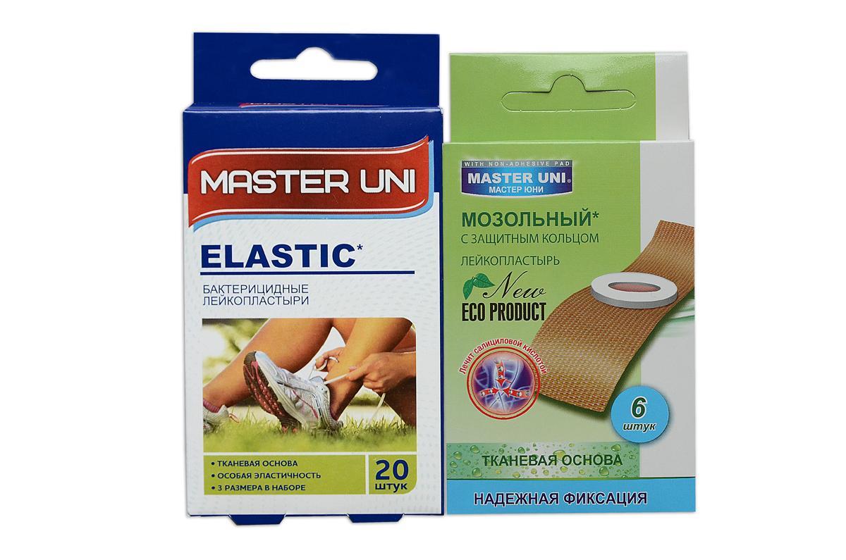 Master Uni Mix Elastic набор лейкопластырей, 20+6шт4260071590039Mix Elastic - состоит из двух видов лейкопластырей - бактерицидного и от сухих мозолей. Набор бактерицидных лейкопластырей на тканевой основе телесного цвета надежно защищающих рану от попадания загрязнений. Эффективен при ссадинах, порезах и мелких повреждениях кожи. Дышащая тканевая основа обладает особой эластичностью, прилегает к коже, повторяет изгибы тела, абсорбирующая подушечка моментально всасывает раневые выделения, имеет дополнительную защиту от грязи и микробов со всех сторон, покрыта бактерицидной атравматической сеткой, которая не прилипает к ране. Антисептик: риванол, эффективно дезинфицирует и способствует быстрому заживлению раны без образования рубцов. Мозольный пластырь - эффективное средство для удаления ороговевшей кожи любой части стопы. Пластырь на тканевой основе надежно фиксируется на ноге и принимает нужную форму при ходьбе. Мягкое защитное кольцо пластыря предохраняет здоровую кожу от контакта с лечебным веществом - салициловой кислотой, которая безболезненно удаляет ороговевшую кожу с Ваших ступней и пальцев ног. Противопоказания: индивидуальная непереносимость, повреждения кожи, кожные заболевания. Master Uni Mix Elastic - Мягкая и нежная кожа Ваших ног! В наборе: размеры 72х19 мм - 10шт, 56х19 мм - 5 шт, 22 мм - 5шт, пластырь мозольный 65х20 мм - 6шт. Master Uni Mix Elastic - отличное решение для всей семьи!