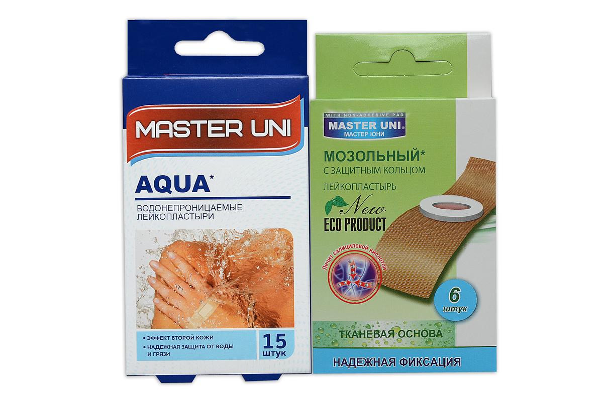 Master Uni Mix Аqua набор лейкопластырей, 15+6штБУ-00000316MIX АQUA - состоит из двух видов лейкопластырей - бактерицидного и от сухих мозолей. Набор бактерицидных лейкопластырей на тонкой полимерной прозрачной основе, эффект второй кожи надежно защищают рану от попадания влаги во время водных процедур. Надежно фиксируется на коже, повторяя изгибы тела, абсорбирующая подушечка имеет дополнительную защиту от грязи и микробов со всех сторон, покрыта бактерицидной атравматической сеткой, которая не прилипает к ране. Мозольный пластырь - эффективное средство для удаления ороговевшей кожи любой части стопы. Пластырь на тканевой основе надежно фиксируется на ноге и принимает нужную форму при ходьбе. Мягкое защитное кольцо пластыря предохраняет здоровую кожу от контакта с лечебным веществом - салициловой кислотой, которая безболезненно удаляет ороговевшую кожу с Ваших ступней и пальцев ног. Противопоказания: индивидуальная непереносимость, повреждения кожи, кожные заболевания. Master Uni MIX TRAVEL KIT - Мягкая и нежная кожа Ваших ног! В наборе: размеры 72х19 мм - 15шт,38х38 мм - 5шт , пластырь мозольный 65х20 мм - 6шт. Master Uni MIX TRAVEL KIT - отличное решение для всей семьи!