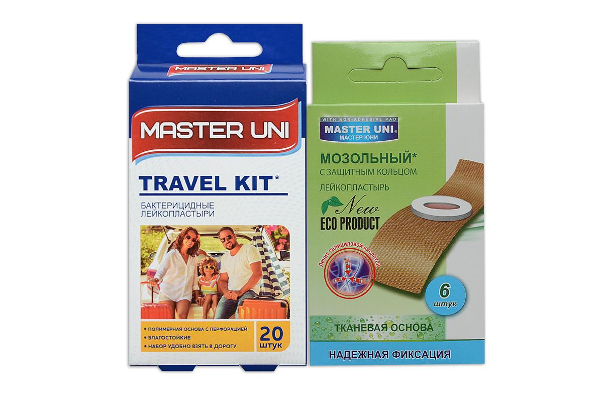 Master Uni Mix Travel Kitнабор лейкопластырей, 20+6шт4260071590039MIX TRAVEL KIT - состоит из двух видов лейкопластырей - бактерицидного и от сухих мозолей. Набор бактерицидных лейкопластырей на полимерной основе телесного цвета, надежно защищают рану от попадания загрязнений. Эффективен при ссадинах, порезах и мелких повреждениях кожи. Мягкая перфорированная полимерная основа обладает повышенной воздухопроницаемостью, позволяет коже свободно дышать, влагостойкие, надежно фиксируется на коже, повторяя изгибы тела, абсорбирующая подушечка моментально всасывает раневые выделения, имеет дополнительную защиту от грязи и микробов со всех сторон, покрыта бактерицидной атравматической сеткой, которая не прилипает к ране. Антисептик: риванол, эффективно дезинфицирует и способствует быстрому заживлению раны без образования рубцов. Мозольный пластырь - эффективное средство для удаления ороговевшей кожи любой части стопы. Пластырь на тканевой основе надежно фиксируется на ноге и принимает нужную форму при ходьбе. Мягкое защитное кольцо пластыря предохраняет здоровую кожу от контакта с лечебным веществом - салициловой кислотой, которая безболезненно удаляет ороговевшую кожу с Ваших ступней и пальцев ног. Противопоказания: индивидуальная непереносимость, повреждения кожи, кожные заболевания. Master Uni MIX TRAVEL KIT - Мягкая и нежная кожа Ваших ног! В наборе: размеры 72х19 мм - 15шт,38х38 мм - 5шт , пластырь мозольный 65х20 мм - 6шт. Master Uni MIX TRAVEL KIT - отличное решение для всей семьи!