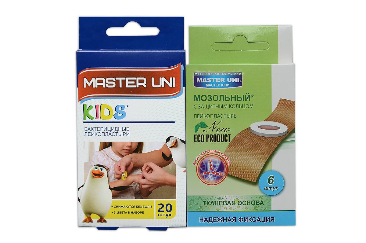 Master Uni MIX KIDS набор лейкопластырей, 20+6шт17164MIX KIDS - состоит из двух видов лейкопластырей - бактерицидного и от сухих мозолей. Набор бактерицидных лейкопластырей на полимерной основе с рисунками надежно защищают ранку от попадания загрязнений. Эффективен при ссадинах, порезах и мелких повреждениях кожи. Прозрачная влагостойкая основа с веселыми рисунками для увлекательного лечения раны надежно фиксируется на коже, повторяя изгибы тела, абсорбирующая подушечка моментально всасывает раневые выделения, имеет дополнительную защиту от грязи и микробов со всех сторон, покрыта бактерицидной атравматической сеткой, которая не прилипает к ране. Сторона пластыря, контактирующая с кожей, не содержит красителей, кожа остается чистой. Антисептик: бензалкония хлорид, эффективно дезинфицирует и способствует быстрому заживлению раны без образования рубцов. Мозольный пластырь - эффективное средство для удаления ороговевшей кожи любой части стопы. Пластырь на тканевой основе надежно фиксируется на ноге и принимает нужную форму при ходьбе. Мягкое защитное кольцо пластыря предохраняет здоровую кожу от контакта с лечебным веществом - салициловой кислотой, которая безболезненно удаляет ороговевшую кожу с Ваших ступней и пальцев ног. Противопоказания: индивидуальная непереносимость, повреждения кожи, кожные заболевания. Master Uni MIX KIDS - Мягкая и нежная кожа Ваших ног! В наборе: размеры 56х19 мм - 20шт,3 цвета в наборе , пластырь мозольный 65х20 мм - 6шт. Master Uni MIX KIDS - отличное решение для всей семьи!
