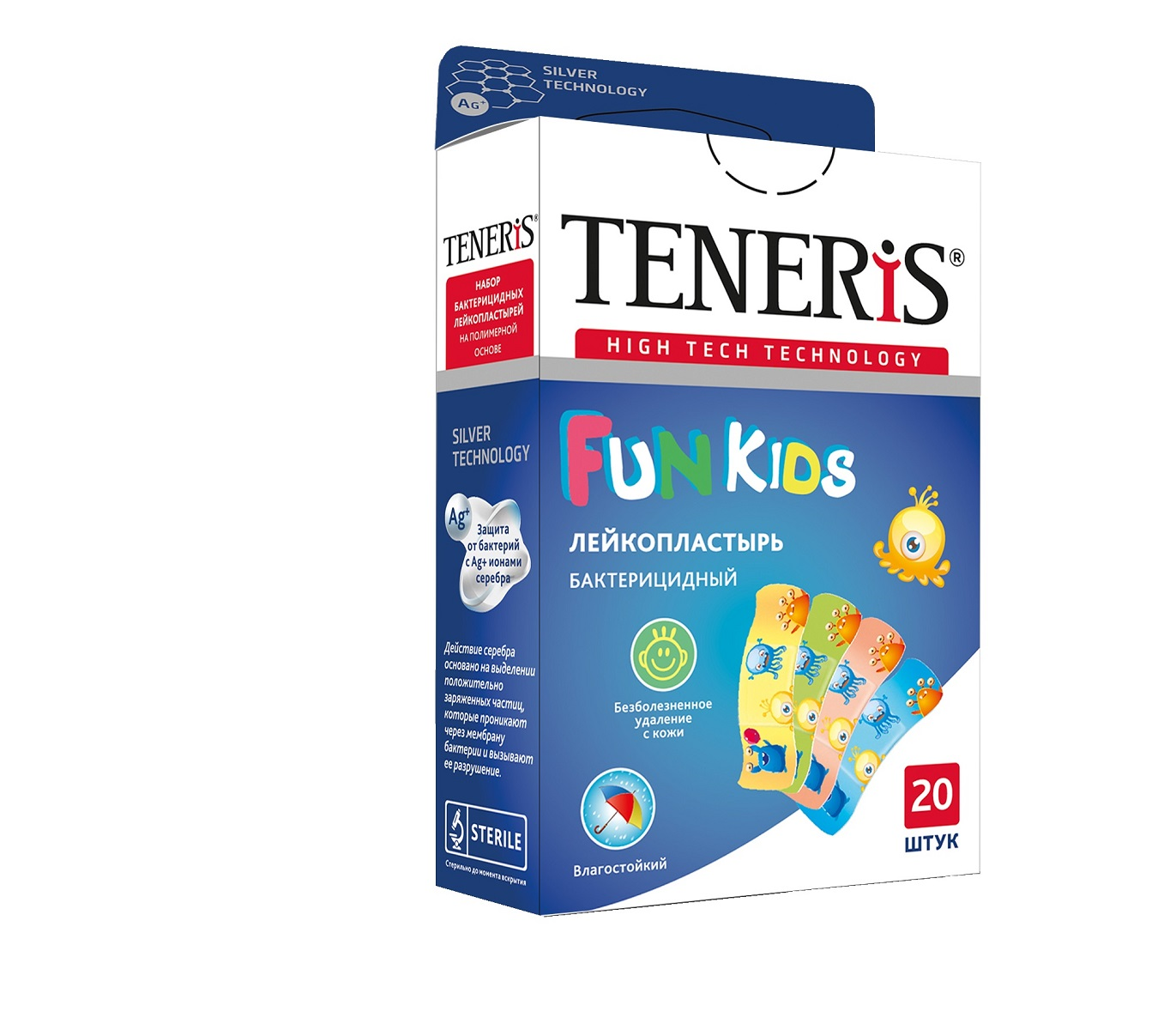 Teneris Fun Kids набор бактерицидных лейкопластырей, 20 штБУ-00000316Набор бактерицидных лейкопластырей на основе перфорированной полимерной пленки с картинками мультяшных героев. Влагоустойчивый, надежно защищает ранку во время купания. Пропускает воздух. Антисептик - бензалкония хлорид. Впитывающая подушечка с атравматической сеткой с ионами серебра. 20 шт. в упаковке