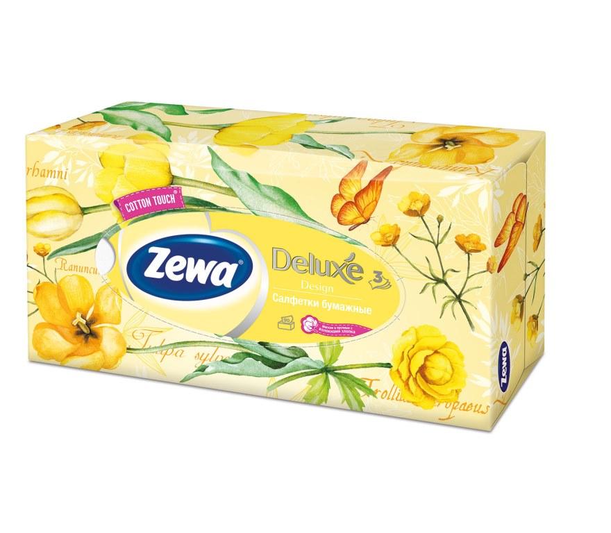 Салфетки бумажные косметические Zewa Deluxe, 90 шт, цвет: желтый