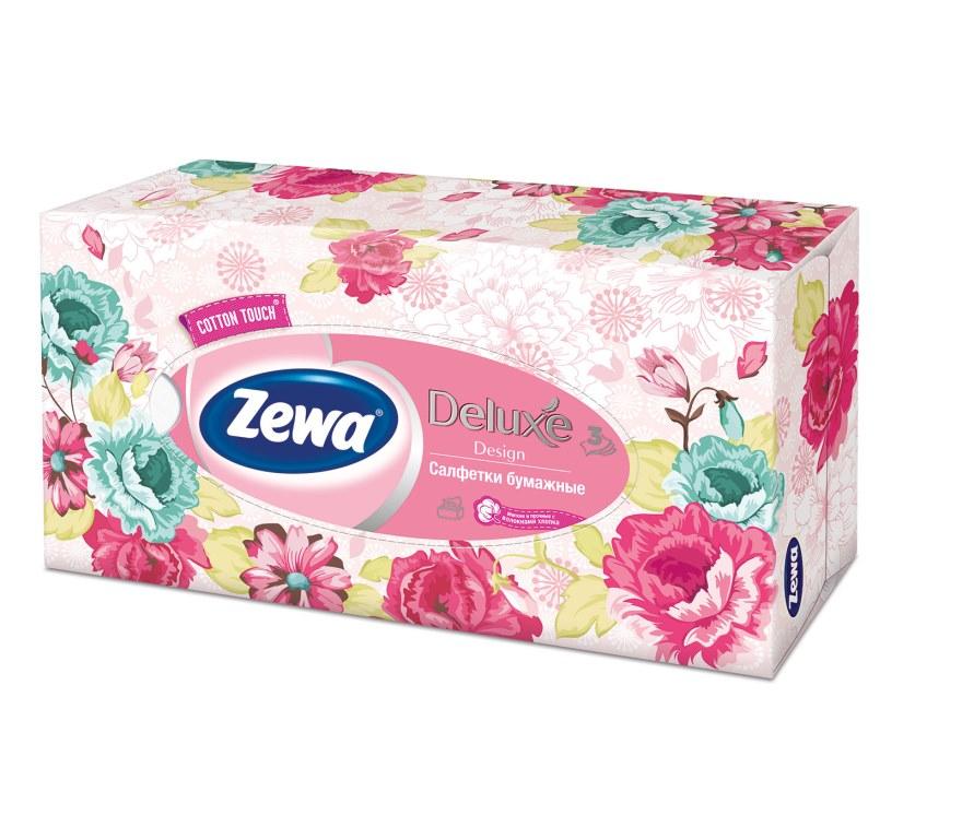 Салфетки бумажные косметические Zewa Deluxe, 90 шт, цвет: розовыйDB4010(DB4.510)/голубой/розовыйБумажные салфетки Zewa COTTON TOUCH® произведены с добавлением натуральных волокон хлопка и одновременно сочетают в себе мягкость и прочность. Они деликатно и нежно заботятся о Вашей коже и дарят незабываемые ощущения прикосновения хлопка. Бумажные салфетки Zewa в коробочках с ярким дизайном станут незаменимыми помощниками дома или на работе. Они спасут не только во время простуды, но и в повседневных делах, когда нужно вытереть руки или лицо, поправить макияж. Белые 3-х слойные носовые платки без аромата. 5 разных дизайнов коробок. 90 платков в коробке. Состав: целлюлоза, волокно хлопка. Производство: Россия.