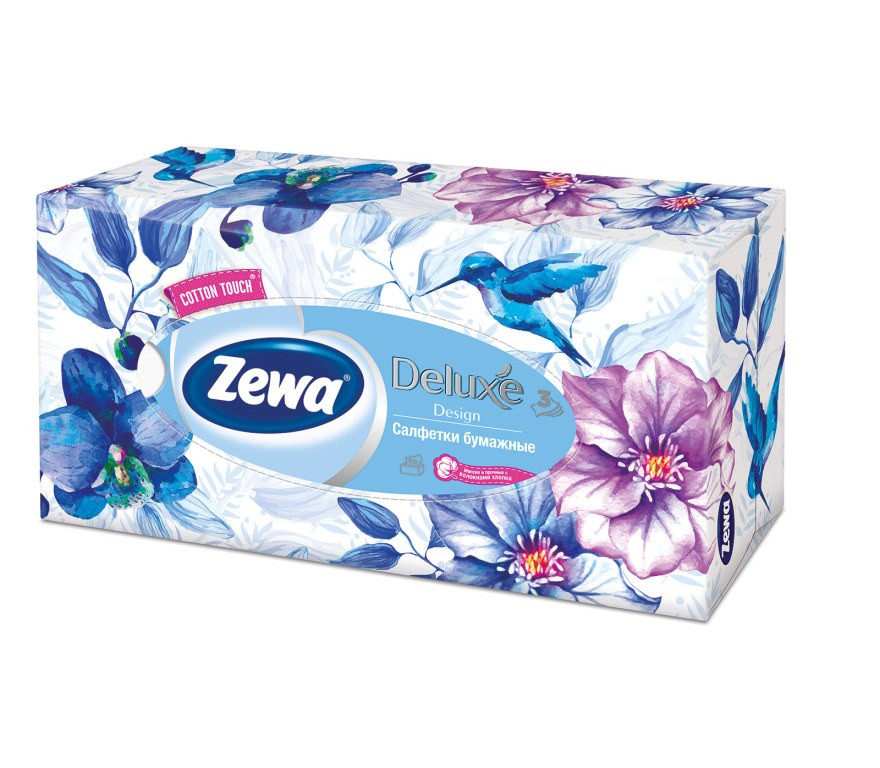Салфетки бумажные косметические Zewa Deluxe, 90 шт, цвет: синийSC-FM20104Бумажные салфетки Zewa COTTON TOUCH® произведены с добавлением натуральных волокон хлопка и одновременно сочетают в себе мягкость и прочность. Они деликатно и нежно заботятся о Вашей коже и дарят незабываемые ощущения прикосновения хлопка. Бумажные салфетки Zewa в коробочках с ярким дизайном станут незаменимыми помощниками дома или на работе. Они спасут не только во время простуды, но и в повседневных делах, когда нужно вытереть руки или лицо, поправить макияж. Белые 3-х слойные носовые платки без аромата. 5 разных дизайнов коробок. 90 платков в коробке. Состав: целлюлоза, волокна хлопка. Производство: Россия.