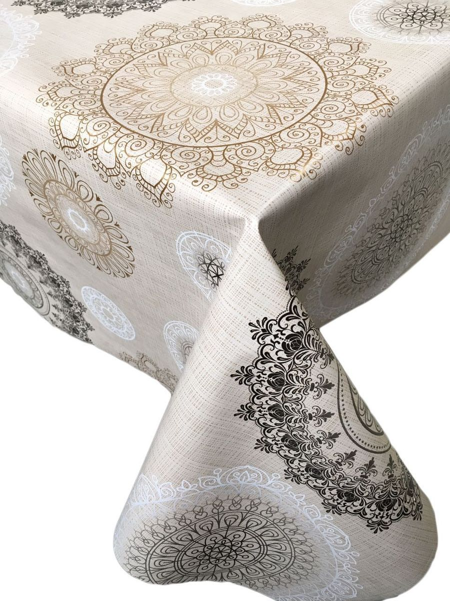 Столовая клеенка LCadesi Florista, прямоугольная, 130 х 165 см. FL130165-340-01VT-1520(SR)Столовая клеенка Florista с классическим дизайном украсит ваш стол и защитит его от царапин и пятен. Благодаря основе из нетканого материала не скользит по столу. Клеенка не имеет запаха и совершенно безопасна для человека.