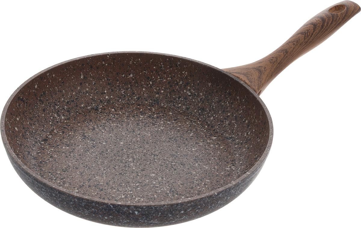Сковорода Fissman Magic Brown, с антипригарным покрытием. Диаметр 26 смAL-4332.26Сковорода Fissman Magic Brown изготовлена из алюминия с многослойным антипригарным покрытием EcoStone, состоящего из нескольких слоев натуральной каменной крошки на основе минеральных компонентов. Такое покрытие долговечно и безопасно для здоровья и окружающей среды, оно обладает великолепными антипригарными свойствами. Сковорода оснащена удобной бакелитовой ручкой, которая не нагревается в процессе приготовления пищи и не скользит в мокрых руках.Сковорода Fissman Magic Brown создана, чтобы удовлетворить потребности самых взыскательных кулинаров и профессиональных шеф-поваров. Подходит для использования на газовых, электрических и стеклокерамических плитах, а также на индукционных. Можно мыть в посудомоечной машине. Высота стенки: 5,2 см. Длина ручки: 20 см.