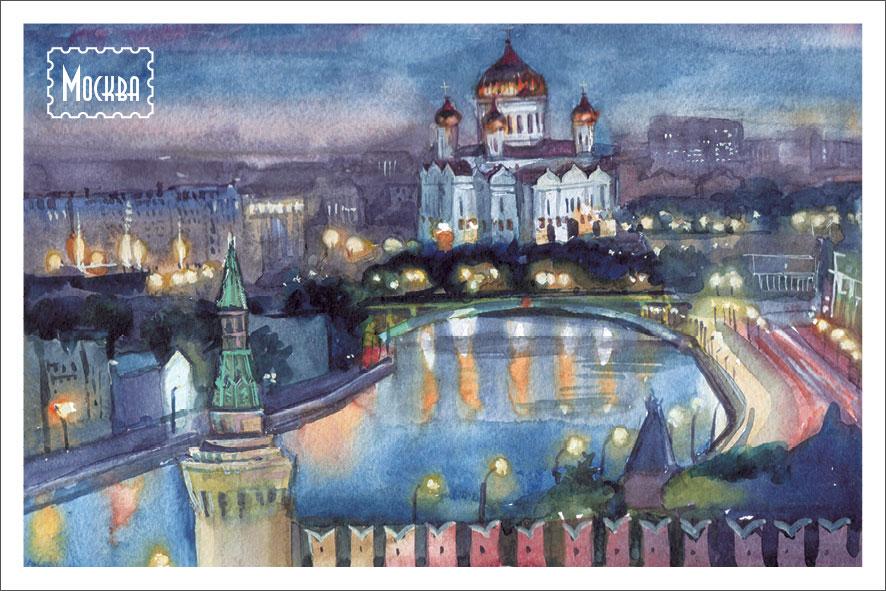 Открытка Даринчи № 12, акварельОТКР №357Акварельная открытка