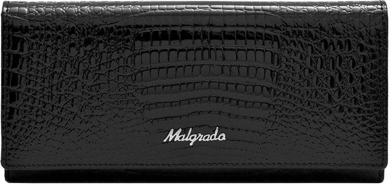 Кошелек женский Malgrado, цвет: черный. 72058-461-022_516Женский кошелек Malgrado изготовлен из натуральной кожи с декоративным тиснением под крокодила. Купюры вмещаются в полную длину. Закрывается кошелек при помощи клапана на кнопку. Внутри расположено три отделения для купюр, два потайных отделений для бумаг, семь кармашков для пластиковых карт и визиток, один кармашек на молнии, два отделения для мелочи, который закрывается на рамочный замок, а также прозрачное окошко для фотографии. С задней стороны также имеется открытое отделение для мелочи или бумаг.Такой кошелек стильно дополнит ваш образ и станет незаменимым аксессуаром. Кошелек упакован в подарочную металлическую коробку синего цвета.
