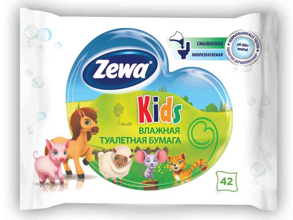 Влажная туалетная бумага Zewa Kids, 42 шт туалетная бумага 5000 рублей
