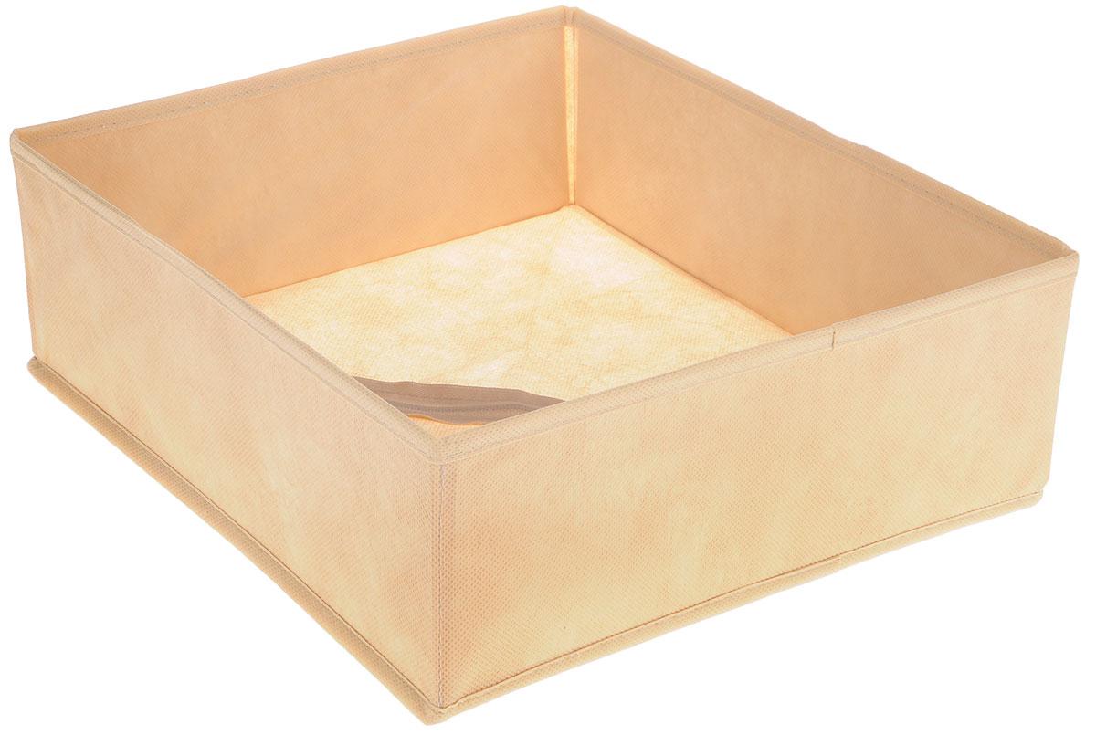 Органайзер Все на местах Minimalistic, цвет: бежевый, 32 х 32 х 11 см1011055Органайзер поможет удобно хранить вещи. Изделие выполнено из высококачественного нетканого материала, который обеспечивает естественную вентиляцию, позволяя воздуху проникать внутрь, но не пропускает пыль. Вставки из ПВХ хорошо держат форму. Изделие содержит одну большую секцию. Органайзер легко раскладывается и складывается. Оригинальный дизайн придется по вкусу ценителям эстетичного хранения. Размер органайзера в разложенном виде: 32 х 32 х 11 см.