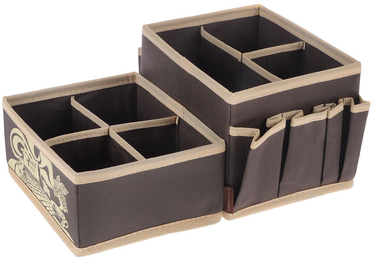 Набор органайзеров для косметики Все на местах Париж, цвет: темно-коричневый, бежевый, 2 предметаБрелок для ключейНабор состоит из двух органайзеров для хранения косметики и аксессуаров.Изделия выполнены из высококачественного нетканого материала (спанбонда), которыйобеспечивает естественную вентиляцию, позволяя воздуху проникать внутрь, но не пропускаетпыль. Вставки из ПВХ хорошо держат форму. Мягкие перегородки образуют секции для хранения разнообразной косметики. Наружные кармашки позволяют удобно хранитьмелкие аксессуары. Изделия отличаются мобильностью: легко раскладываются и складываются.Набор органайзеров для косметики и аксессуаров поможет привести элементыженского туалета в порядок. Оригинальный дизайн придется по вкусу ценительницам эстетичного хранения. Размер органайзеров: 15 см х 15 см х 12 см; 15 см х 15 см х 7 см.