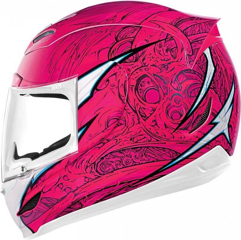 Мотошлем Icon Airmada Sportbike SB1, цвет: розовый. 0101. Размер L0101-6068Отличное сочетание функциональности и стиля. Этот шлем прекрасно подойдет как длягородской езды, так и для спортивных заездов на треке. За основу взят литойполикарбонатный корпус.Сточки зрения аэродинамики, посадки, вентиляции и комфорта – это совершенно новая модель шлема.Вентиляция так же была улучшена. Теперь у нас 7 каналов для впуска свежего воздуха, и 6 портов для выпуска. Как и в предыдущих моделях, мы имеем каналы в ротовой области, а так же два боковых порта, которые регулируются в нескольких положениях с внутренней стороны шлема. Выше имеется десятимиллиметровый двойной канал, который, как и прежде удобно контролировать – в закрытом или открытом положении. И одна из новинок находится поблизости – двойной регулировочный порт, который в дополнение ко всем предыдущим, направляет потоки свежего непосредственно на лобную часть водителя. Соответственно, горячий воздух выходит через задние порты - два сверху, два по бокам и два с нижней стороны. Еще одним нововведением является - специально разработанный для линейки «Airmada» визор «Optics». Он стал несколько больше чем предшественники, имеет специальное покрытие от запотевания, гибкий и прочный – и что интересно – такой визор дает вам угол обзора на пять градусов больше, чем в предыдущих моделях. Здесь присутствует «Pro - Lock» защита от открывания. И еще одним большим плюсом является то, что визор стало намного легче снимать. Все что нужно – это поднять его до предела, нажать на боковые фиксаторы, и визор без проблем отсоединяется. Чтобы одеть его обратно, вставить визор до щелчка – и закрыть шлем. По сравнению с предыдущими моделями – замена визора теперь становится делом на пару секунд. Все внутренние подушки впитывают влагу, легко снимаются для стирки и устанавливаются аналогичным образом. Используется самая надежная система фиксации – D-образная кольцо-застежка, чтобы шлем ни при каких обстоятельствах не отстегнулся. Съемный дефлекто