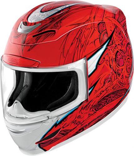 Мотошлем Icon Airmada Sportbike SB1, цвет: красный. 0101. Размер L0101-6074Отличное сочетание функциональности и стиля. Этот шлем прекрасно подойдет как длягородской езды, так и для спортивных заездов на треке. За основу взят литойполикарбонатный корпус.Сточки зрения аэродинамики, посадки, вентиляции и комфорта – это совершенно новая модель шлема.Вентиляция так же была улучшена. Теперь у нас 7 каналов для впуска свежего воздуха, и 6 портов для выпуска. Как и в предыдущих моделях, мы имеем каналы в ротовой области, а так же два боковых порта, которые регулируются в нескольких положениях с внутренней стороны шлема. Выше имеется десятимиллиметровый двойной канал, который, как и прежде удобно контролировать – в закрытом или открытом положении. И одна из новинок находится поблизости – двойной регулировочный порт, который в дополнение ко всем предыдущим, направляет потоки свежего непосредственно на лобную часть водителя. Соответственно, горячий воздух выходит через задние порты - два сверху, два по бокам и два с нижней стороны. Еще одним нововведением является - специально разработанный для линейки «Airmada» визор «Optics». Он стал несколько больше чем предшественники, имеет специальное покрытие от запотевания, гибкий и прочный – и что интересно – такой визор дает вам угол обзора на пять градусов больше, чем в предыдущих моделях. Здесь присутствует «Pro - Lock» защита от открывания. И еще одним большим плюсом является то, что визор стало намного легче снимать. Все что нужно – это поднять его до предела, нажать на боковые фиксаторы, и визор без проблем отсоединяется. Чтобы одеть его обратно, вставить визор до щелчка – и закрыть шлем. По сравнению с предыдущими моделями – замена визора теперь становится делом на пару секунд. Все внутренние подушки впитывают влагу, легко снимаются для стирки и устанавливаются аналогичным образом. Используется самая надежная система фиксации – D-образная кольцо-застежка, чтобы шлем ни при каких обстоятельствах не отстегнулся. Съемный дефлекто