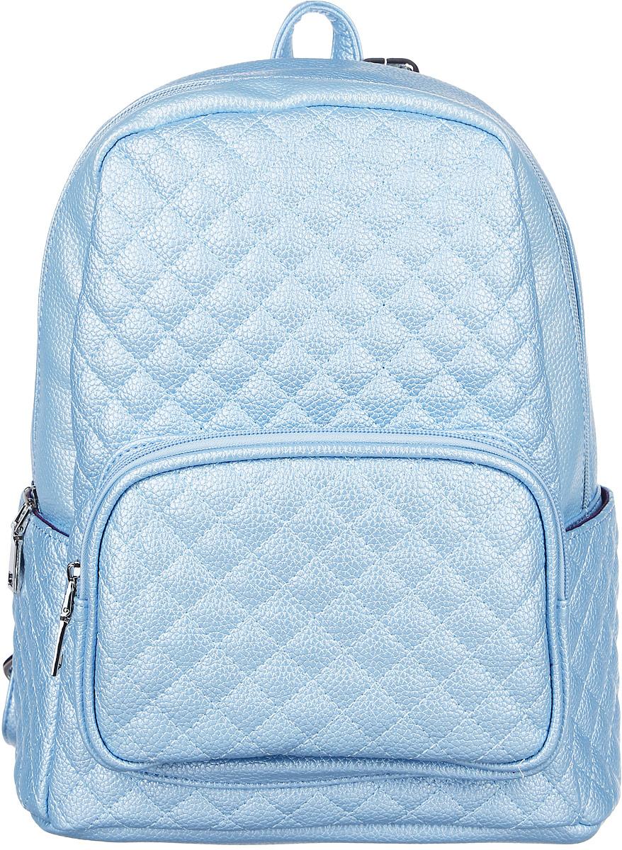 Рюкзак женский OrsOro, цвет: голубой металлик. D-175/76101248Стильный рюкзак OrsOro исполнен из прочной экокожи. Имеет одно вместительное отделение на молнии. Так же в отделении присутствуют накладной широкий карман для мелочей и один прорезной карман на застежке-молнии. Рюкзак обладает удобной ручкой сверху для переноски и двумя регулируемыми плечевыми ремнями-лямками. Снаружи, спереди, так же имеется объемный карман на застежке-молнии, а по бокам два накладных кармашка.