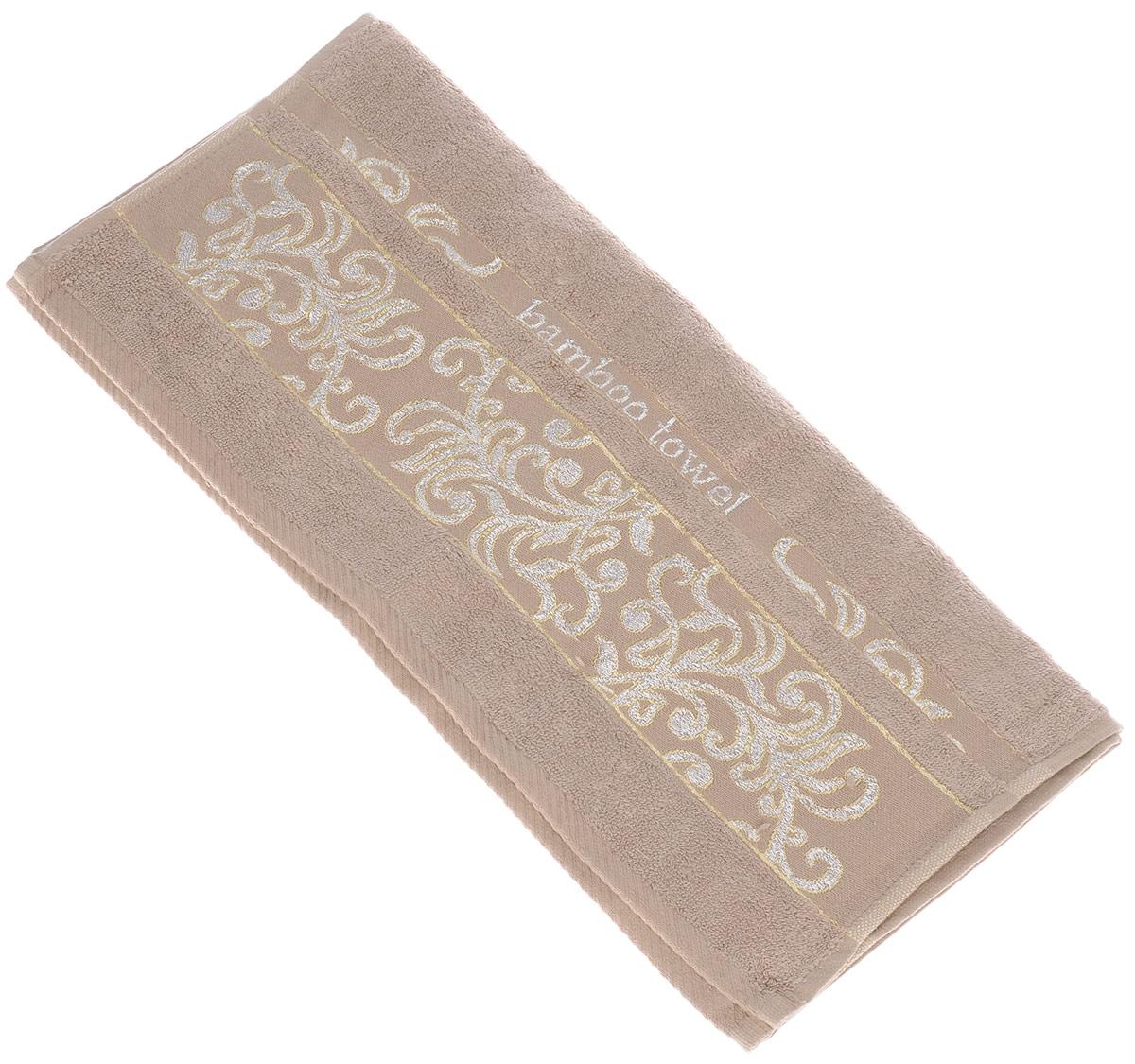 Полотенце Brielle Bamboo. Jacquard, цвет: мокко, 50 х 90 см74-0060Полотенце Brielle Bamboo. Jacquard выполнено из бамбука с содержанием хлопка. Изделие очень мягкое, оно отлично впитывает влагу, быстро сохнет, сохраняет яркость цвета и не теряет формы даже после многократных стирок. Модель оформлена узорным рисунком и надписью.Полотенце Brielle Bamboo. Jacquard очень практично и неприхотливо в уходе.Такое полотенце послужит приятным подарком.