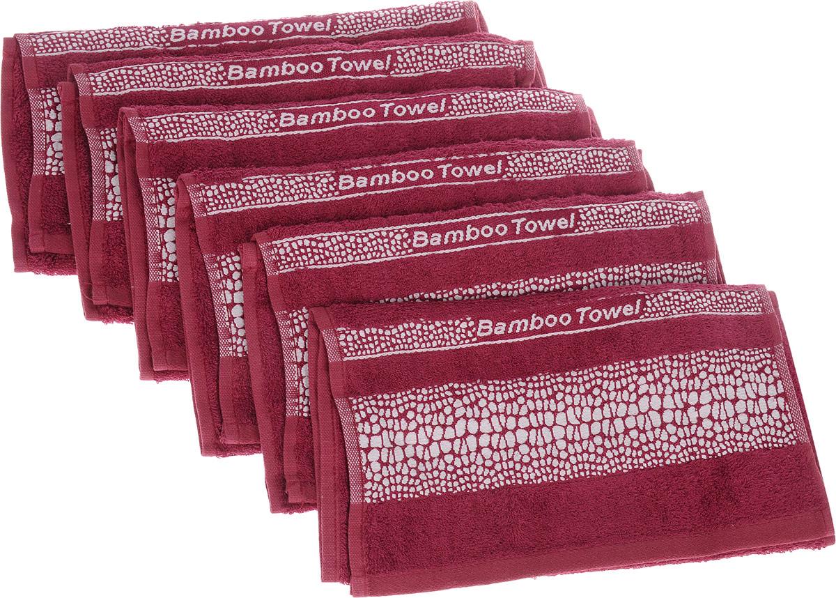 Набор полотенец Brielle Bamboo. Crocodile, цвет: бургунди, 30 х 50 см, 6 шт74-0060Набор Brielle Bamboo. Crocodile состоит из шести полотенец, выполненных из бамбука с содержанием хлопка. Изделия очень мягкие, они отлично впитывают влагу, быстро сохнут, сохраняют яркость цвета и не теряют формы даже после многократных стирок. Одна из боковых сторон оформлена принтом под крокодила и надписью. Полотенца Brielle Bamboo. Crocodile очень практичны и неприхотливы в уходе. Такой набор послужит приятным подарком.