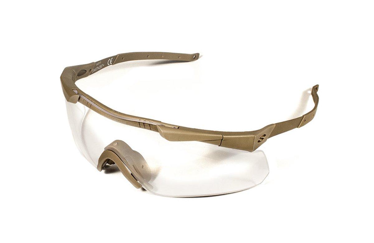 Защитные баллистические очки Smith Optics Aegis Echo II, цвет: бежевый3040Защитные баллистические очки Smith Optics Aegis Echo II обладают рядом особенностей, делающих их использование максимально комфортным. Дужки очков изготовлены из тонкого, гибкого металла, позволяющие использовать очки вместе с наушниками и шлемом.Очки гарантируют 100% защиту от ультрафиолета. Помимо этого, на очки нанесено специальное дисперсионное покрытие, защищающее их от царапин и запотевания.