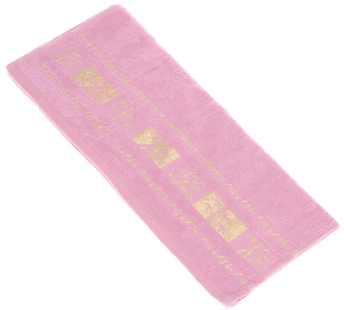 Полотенце Brielle Bamboo Gold, цвет: розовый, 50 х 90 см68/5/3Полотенце Brielle Bamboo Gold выполнено из бамбука с содержанием хлопка. Изделие очень мягкое, оно отлично впитывает влагу, быстро сохнет, сохраняет яркость цвета и не теряет формы даже после многократных стирок. Одна из боковых сторон оформлена оригинальным рисунком и надписью. Полотенце Brielle Bamboo Gold очень практично и неприхотливо в уходе. Такое полотенце послужит приятным подарком.