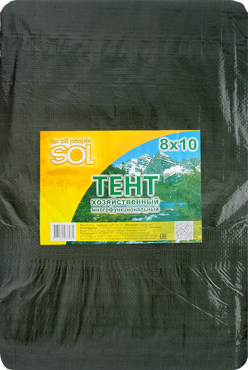 Тент терпаулинг Sol, цвет: темно-зеленый, 8 х 10 мSLTP-006.04Тент терпаулинг Sol изготовлен из высокосортного водонепроницаемого полиэтиленового сырья. По краю пропущен усиливающий капроновый шпагат и установлены металлические люверсы, благодаря которым тент можно монтировать на каркасную основу или использовать для свободного укрытия объектов. Тент используется для укрытия стройматериалов от дождя и снега, для сооружения временных навесов, для закрытия оконных проемов, для укрытия грузов, прицепов, автомашин, в качестве навесов, палаток, подстилок в походах, на отдыхе.Размер: 8 х 10 м.