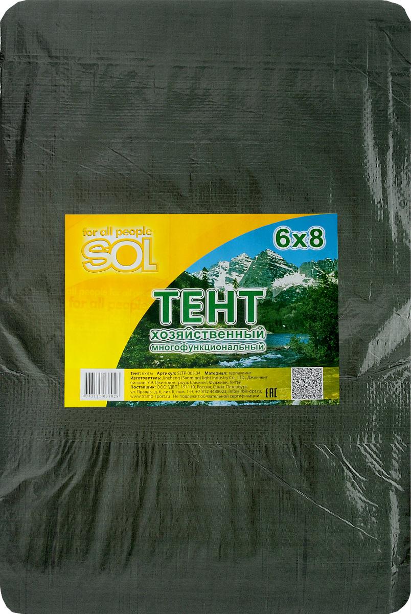 Тент терпаулинг Sol, цвет: темно-зеленый, 6 х 8 мC0038548Тент терпаулинг Sol изготовлен из высокосортного водонепроницаемого полиэтиленового сырья. По краю пропущен усиливающий капроновый шпагат и установлены металлические люверсы, благодаря которым тент можно монтировать на каркасную основу или использовать для свободного укрытия объектов. Тент используется для укрытия стройматериалов от дождя и снега, для сооружения временных навесов, для закрытия оконных проемов, для укрытия грузов, прицепов, автомашин, в качестве навесов, палаток, подстилок в походах, на отдыхе.Размер: 6 х 8 м.