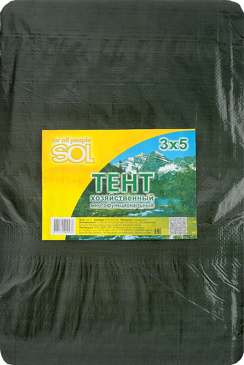Тент терпаулинг Sol, цвет: темно-зеленый, 3 х 5 мWS 7040Тент терпаулинг Sol изготовлен из высокосортного водонепроницаемого полиэтиленового сырья. По краю пропущен усиливающий капроновый шпагат и установлены металлические люверсы, благодаря которым тент можно монтировать на каркасную основу или использовать для свободного укрытия объектов. Тент используется для укрытия стройматериалов от дождя и снега, для сооружения временных навесов, для закрытия оконных проемов, для укрытия грузов, прицепов, автомашин, в качестве навесов, палаток, подстилок в походах, на отдыхе.Размер: 3 х 5 м.