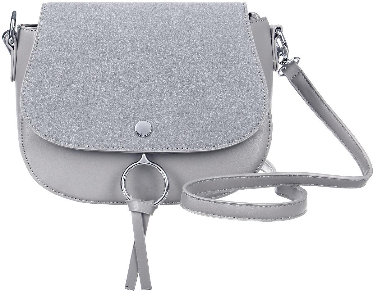 Сумка женская OrsOro, цвет: серый. D-023/1BM8434-58AEКомпактная сумочка OrsOro с оригинальным дизайном не оставит равнодушным. Изделие выполнено из экокожи, а клапан, который прикрывает отделение сумки, из приятной на ощупь искусственной замши. Под клапаном сумка имеет одно главное отделение дополнительно застегивающееся на молнию. Внутри него располагаются накладной широкий карман для мелочей или под сотовый телефон и один прорезной карман на застежке-молнии. Сумка имеет кольца, на которые пристегивается карабинами регулируемый наплечный ремень. Ремень входит в комплект.
