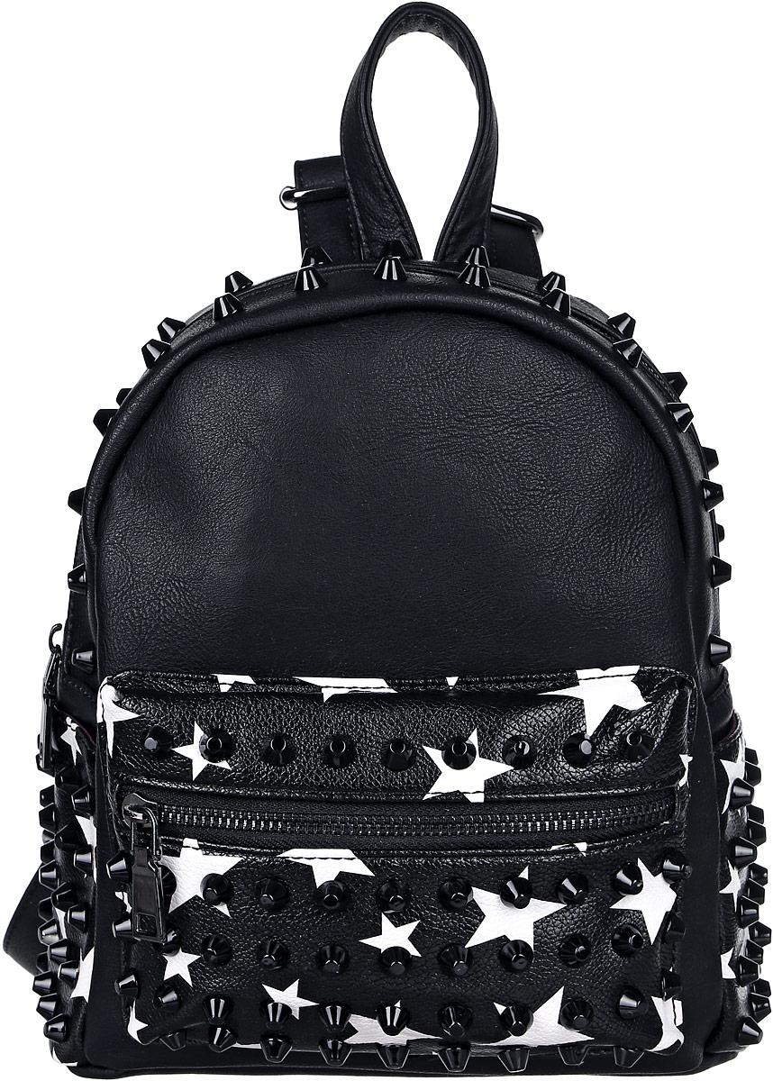 Рюкзак женский OrsOro, цвет: черный, белый. D-177/73L39845800Рюкзак OrsOro, выполненный из высококачественной искусственной кожи, оформлен декоративными клепками и оригинальным принтом. Изделие оснащено ручкой для подвешивания и удобными лямками, длину которых можно изменять с помощью пряжек. На лицевой стороне расположен объемный карман на молнии. Рюкзак имеет два открытых боковых кармана. Изделие закрывается с помощью молнии. Внутри расположено главное отделение, которое содержит одиннебольшой карман на молнии и один открытый карман для мелочей.
