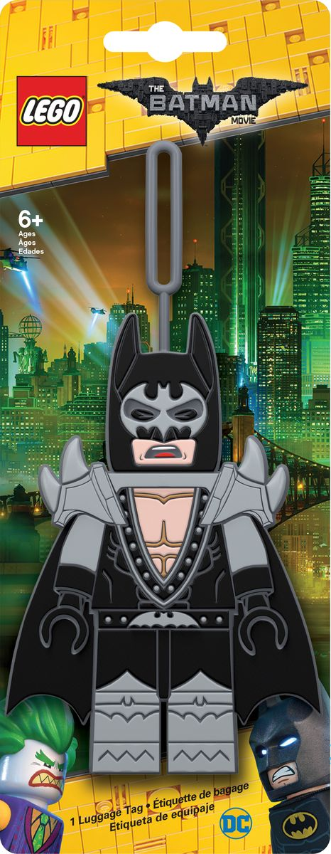 Бирка для багажа LEGO Batman Movie Glam Rocker Batman. 51746332515-2800Бирка для багажа LEGO Batman Movie Glam Rocker Batman - силиконовая бирка надежно крепится к багажу с помощью петли. Яркий и неповторимый дизайн сразу же привлечет внимание, и вы легко отыщите свой чемодан на транспортной ленте. Запишите свои контактные данные на обратной стороне бирки и можете не бояться, что ваш чемодан потеряется, ведь теперь работники аэропорта точно будут знать его хозяина.