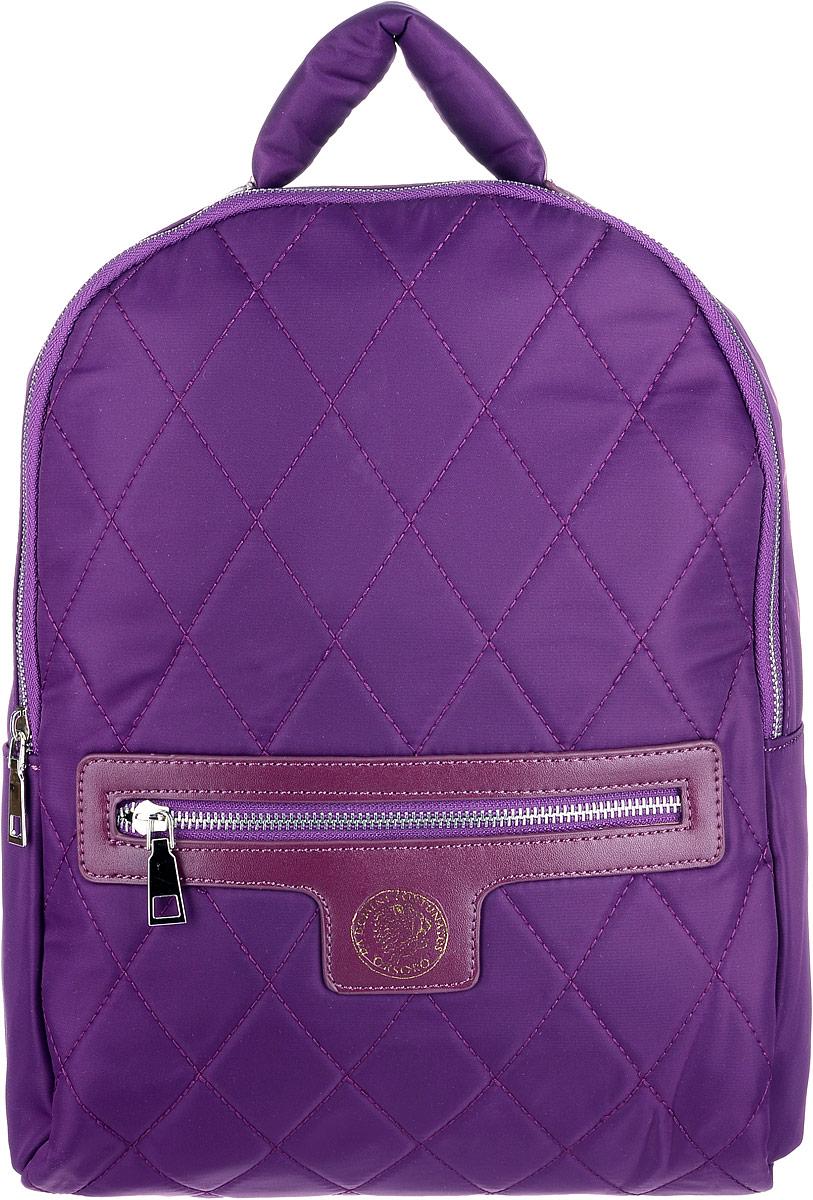 Рюкзак женский OrsOro, цвет: фиолетовый. D-261/3S76245Вместительный текстильный рюкзак OrsOro имеет одно отделение на молнии, внутри которого находятся два накладных кармашка под сотовый телефон или для мелочей и один прорезной карман на застежке-молнии. Снаружи обнаруживается объемный передний карман на молнии. Рюкзак обладает удобной и очень мягкой ручкой сверху для переноски и двумя регулируемыми прочными плечевыми ремнями-лямками. Яркий рюкзак из высокопрочного текстиля будет не только модным акцентом, но и очень практичным приобретением.