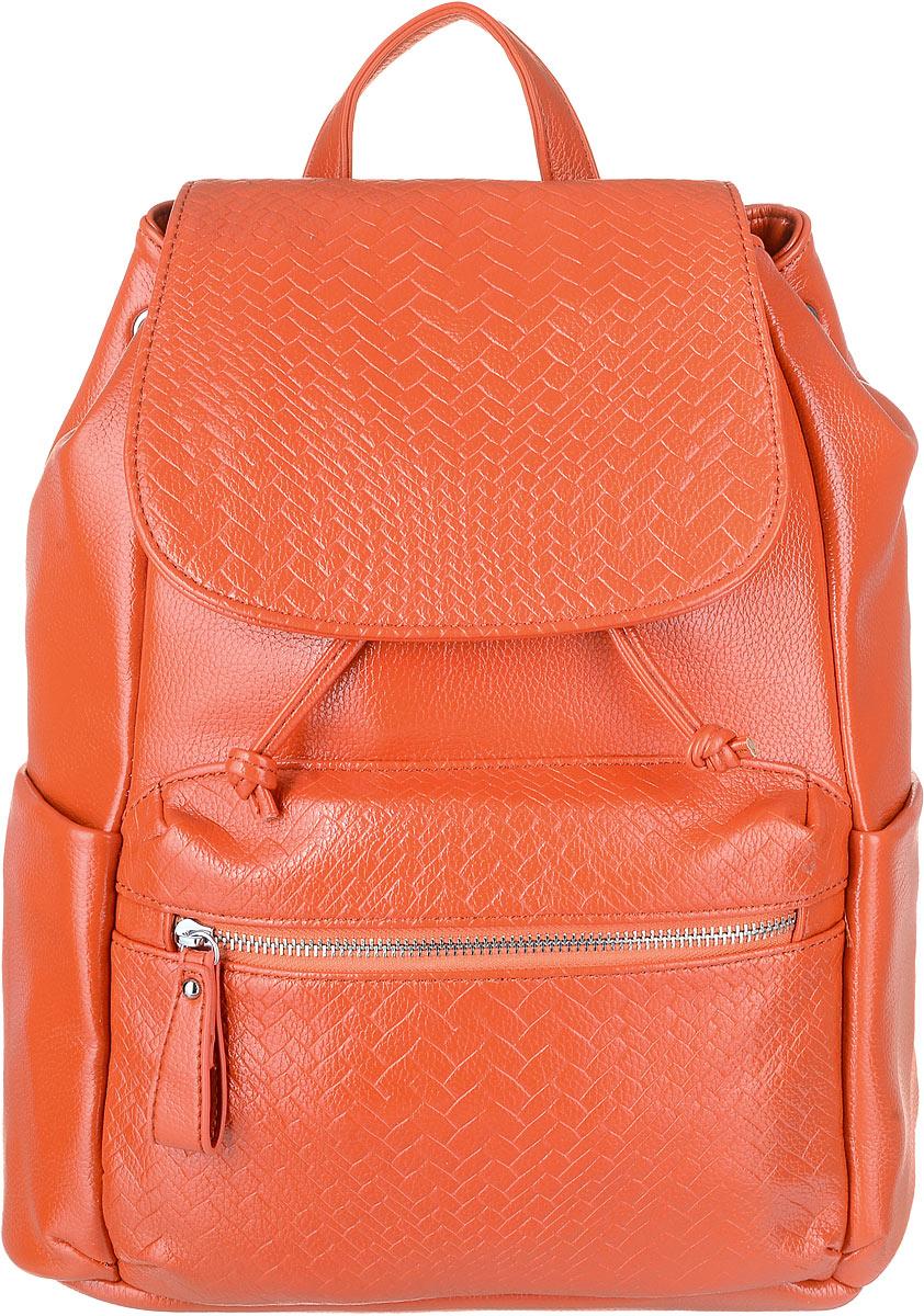 Рюкзак женский OrsOro, цвет: оранжевый. D-264/271069с-2Рюкзак OrsOro изготовлен из прочной экокожи и имеет одно вместительное отделение на затяжках с дополнительным фиксатором на кнопке а так же с клапаном на магнитной кнопке. Так же в отделении присутствуют два накладных кармашка под сотовый телефон или для мелочей, один прорезной карман на застежке-молнии, один накладной карман с дополнительным карманом на молнии на его стенке. Рюкзак обладает удобной ручкой сверху для переноски и двумя упрочненными регулируемыми плечевыми ремнями-лямками. Снаружи, спереди и сзади, имеются два кармашка на молнии, по бокам находятся накладные кармашки.